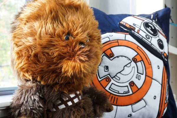 BB-8 Pillow Cover From Pottery Barn And Talking Chewbacca Stuffed Animal