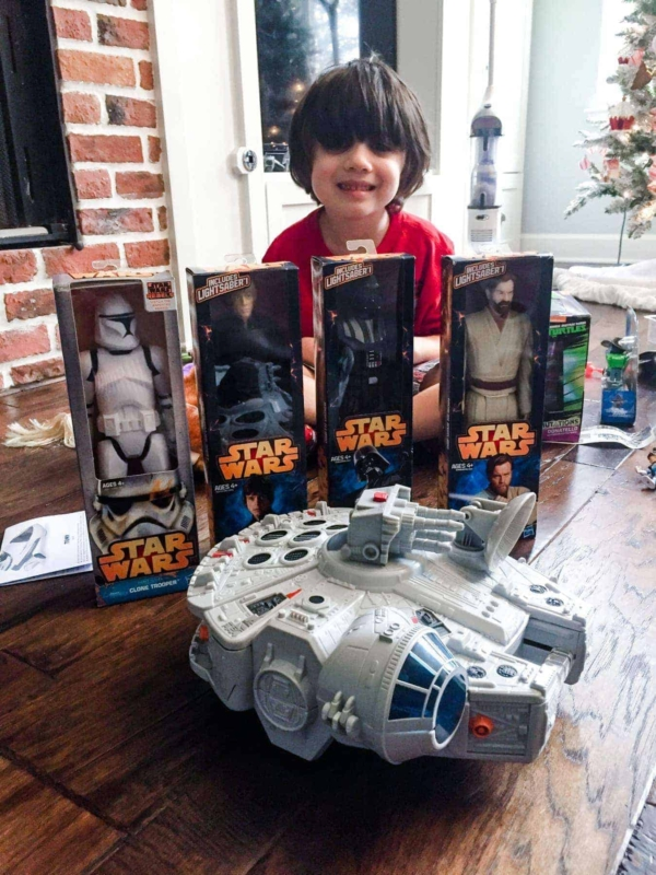 Jacob With Star Wars Toys For Christmas