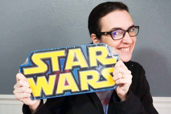 Holding Star Wars Sign