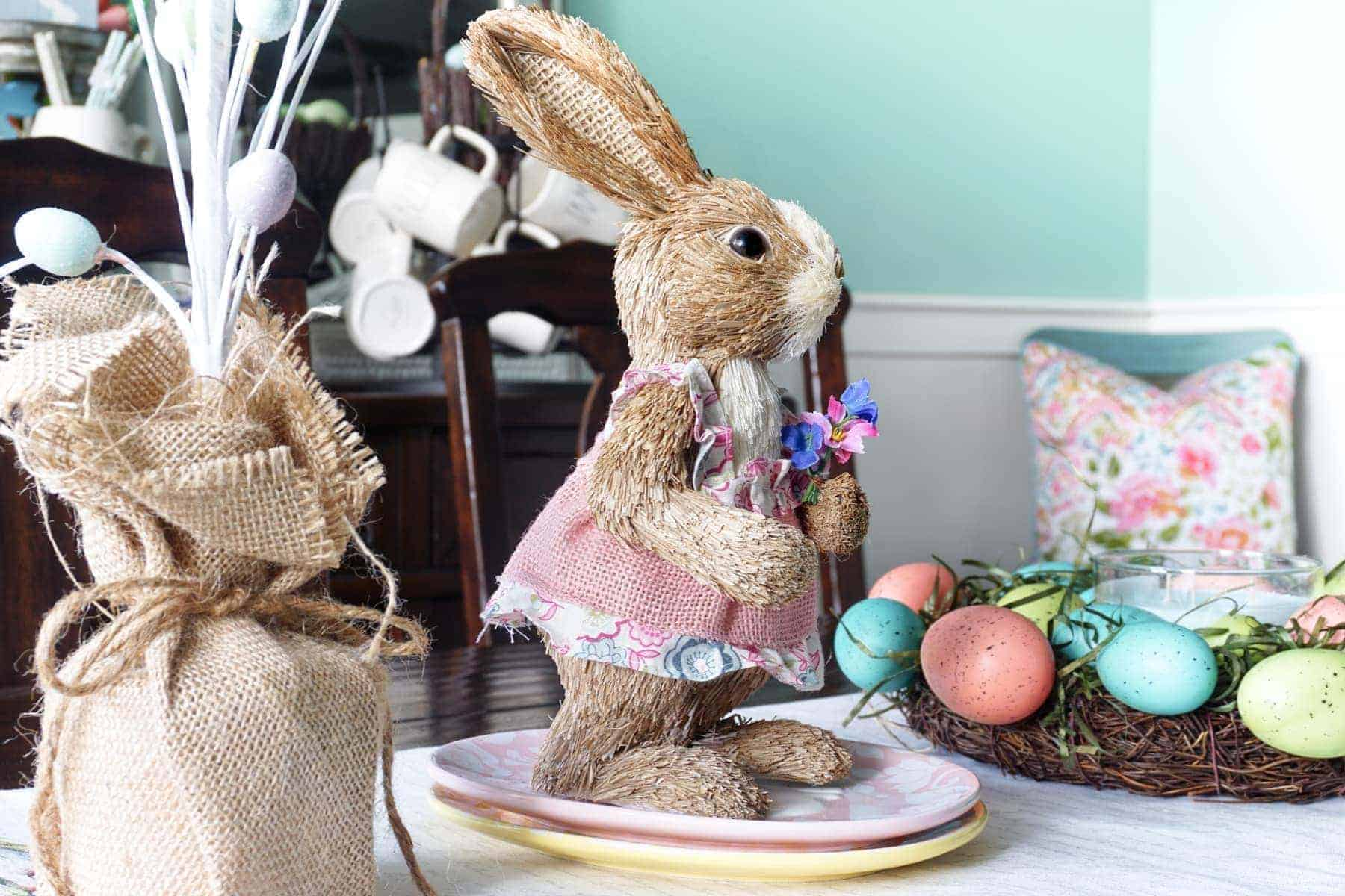 Cute Bunny in Pink Dress Easter Decor
