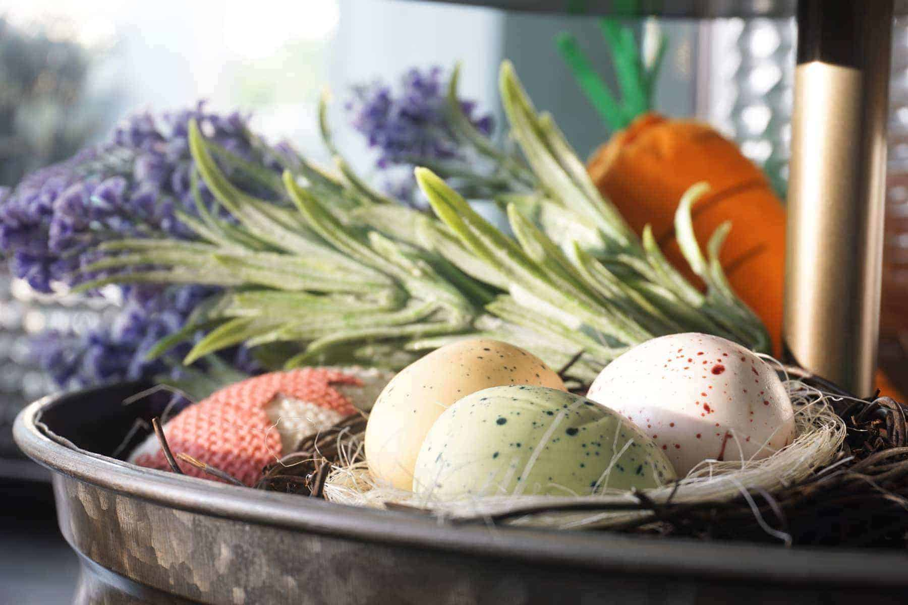 Dyed Eggs, Lavender and Carrot Spring Decor Piece on Tiered Tray