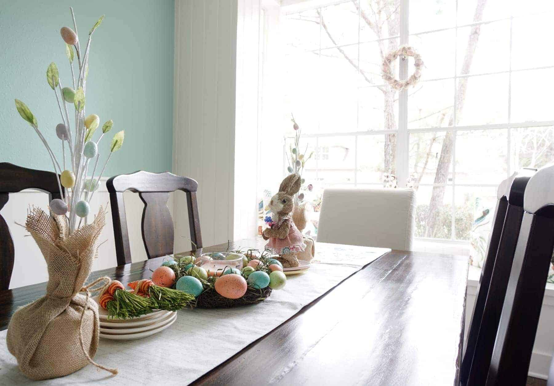 Colored Egg Centerpiece With Bunny and Egg Trees on Dining Table