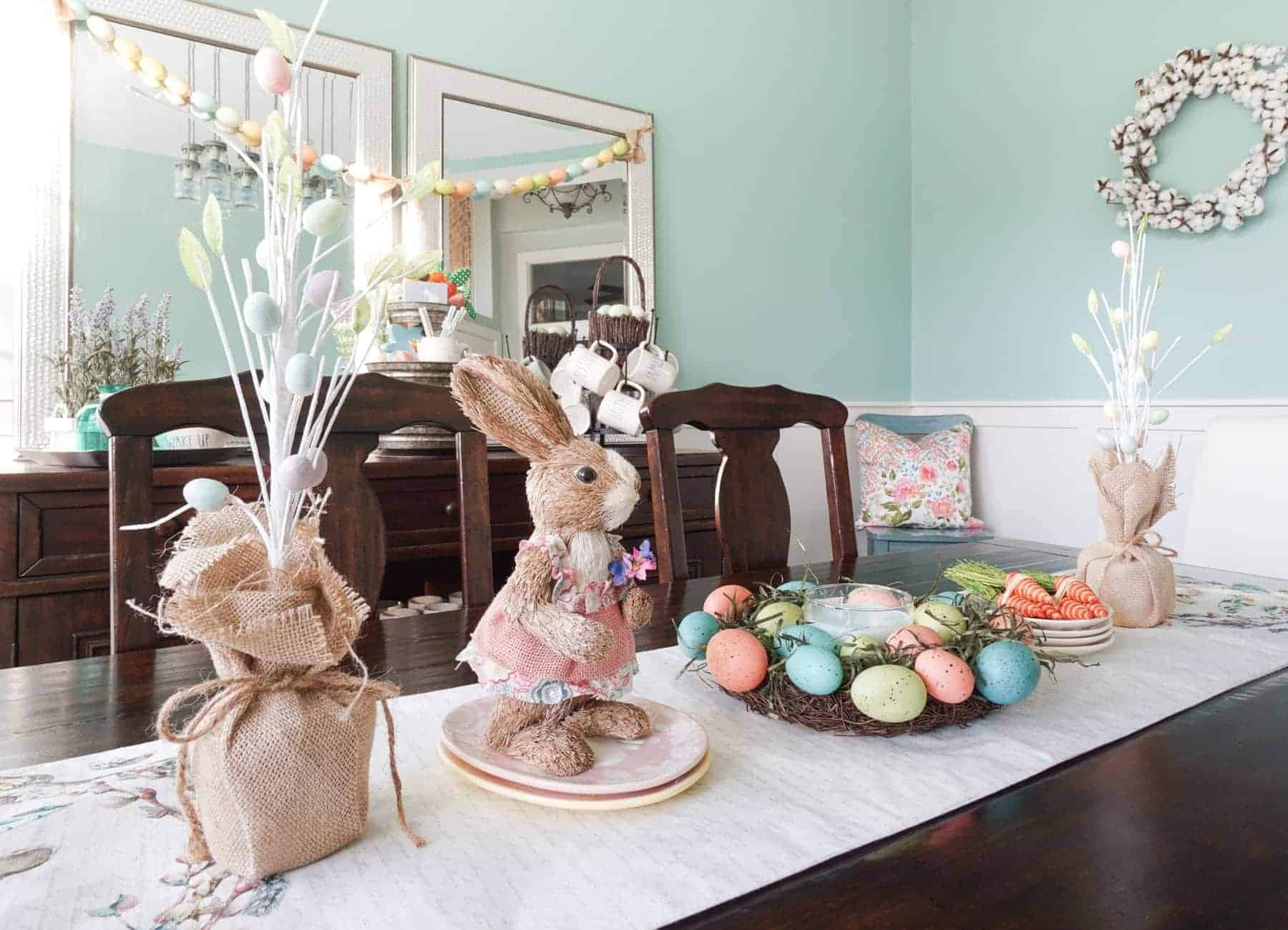 Bunny and Easter Egg Centerpiece on Dining Room Table