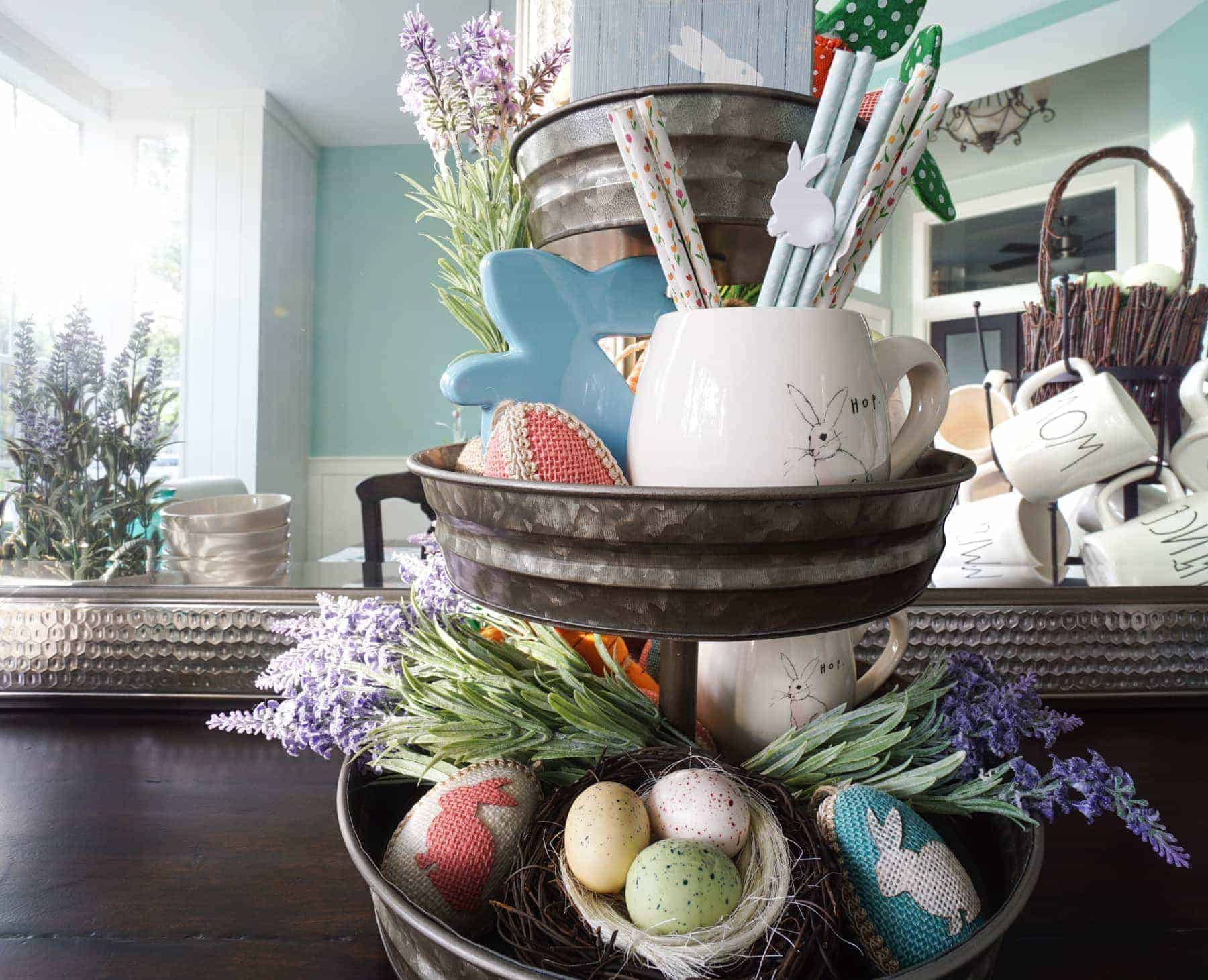 Three Tiered Tray With Easter & Spring Decor