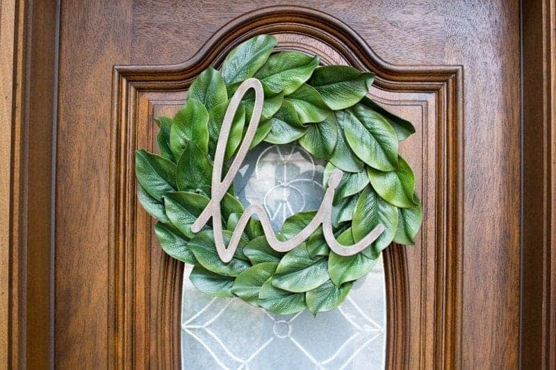 Decorate a Front Door on a Budget With a Beautiful Do-It-Yourself Magnolia Wreath
