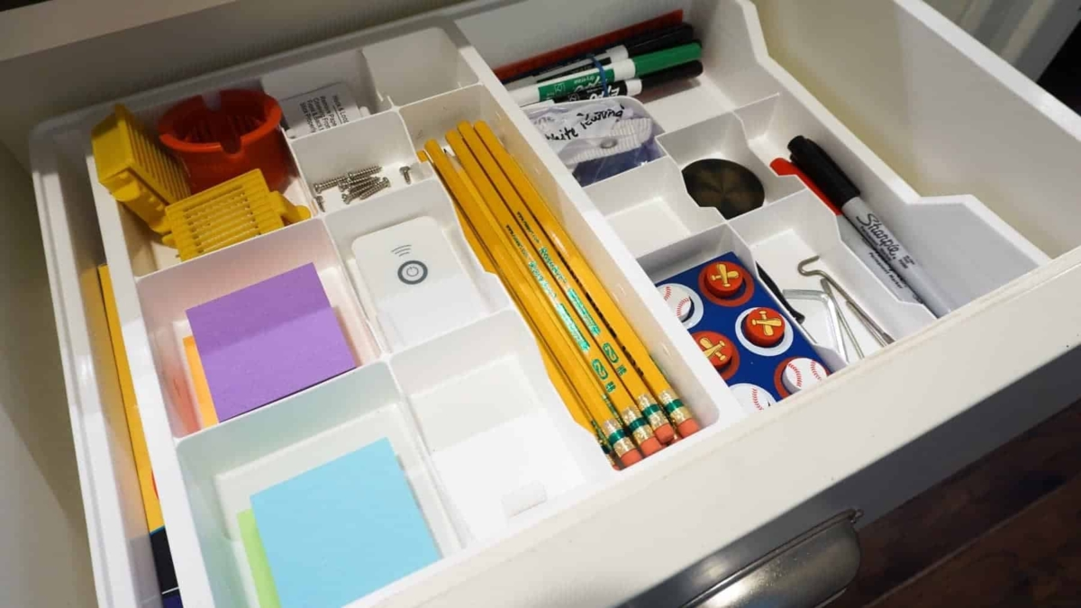 This organizer has lots of different sized compartments to keep all the various odd shaped items nice and tidy.