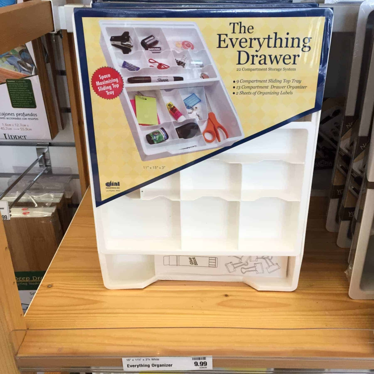 Junk drawer organizer at the container store.
