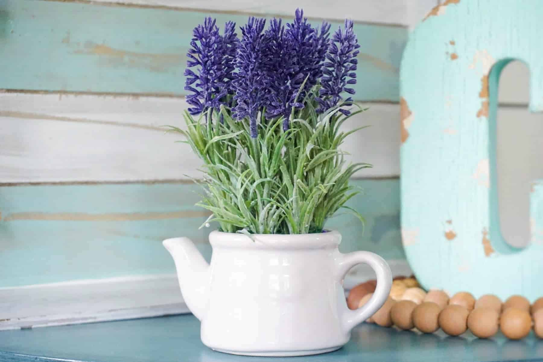 Lavender Flowers In A White Tin Pitcher On The Table