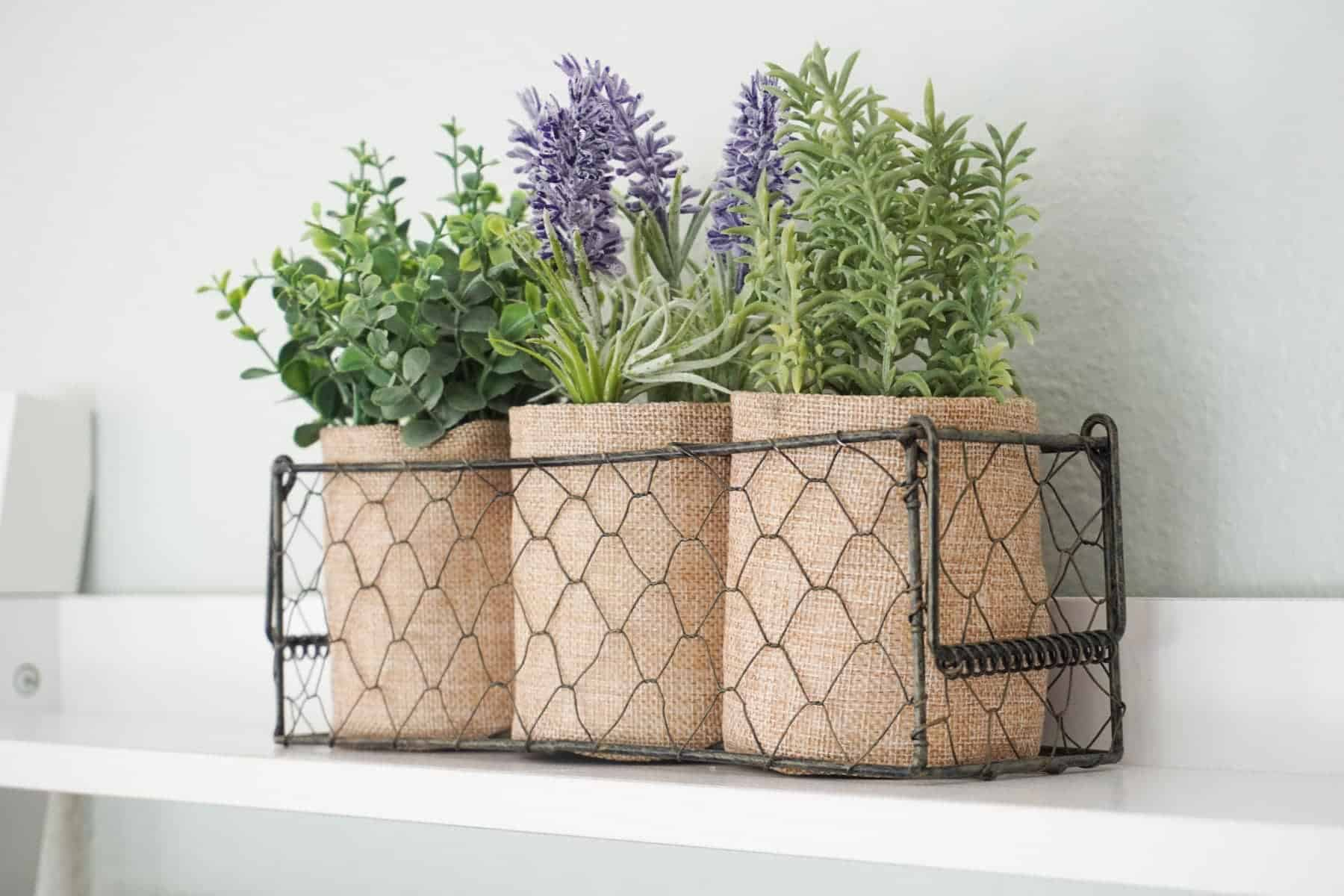 Decorating With Lavender Flowers Planted In Burlap Sacks And Placed In A Chicken Wire Basket