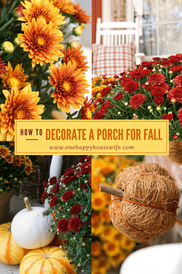 Decorating a porch with simple fall decor.