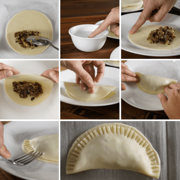 The steps to making beef and potato empanadas