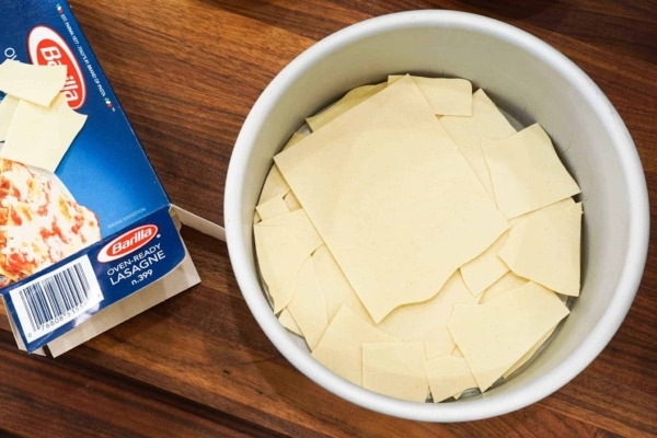 instant pot meat lasagna in a push pan