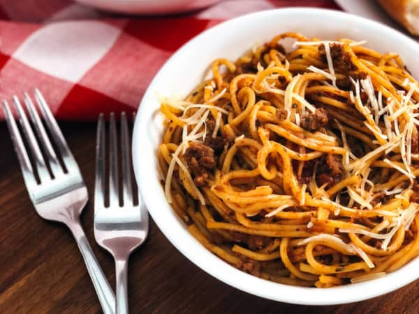 instant pot spaghetti and meat sauce served in a bowl