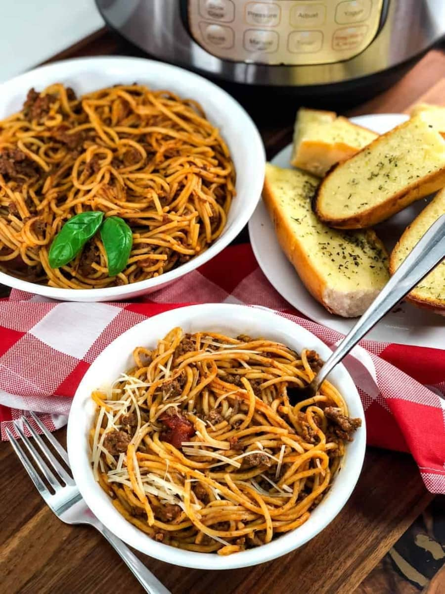 a warm bowl of instant pot spaghetti and meat sauce