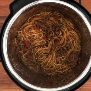 instant pot spaghetti and meat sauce ready to be served from the instant pot