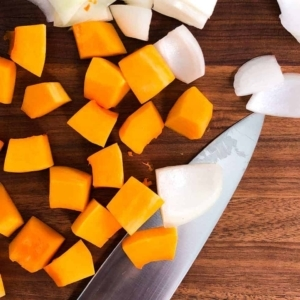 cutting butternut squash and onion