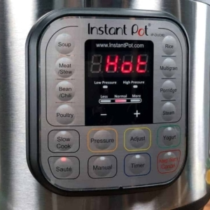 waiting for the instant pot display to read hot