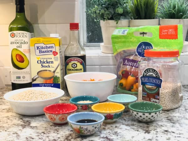 pearl couscous and ground beef ingredients