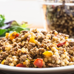 pearl couscous ground beef and peppers cooked in the pressure cooker
