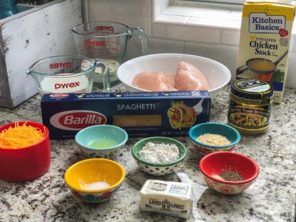 chicken tetrazzini ingredients on a counter