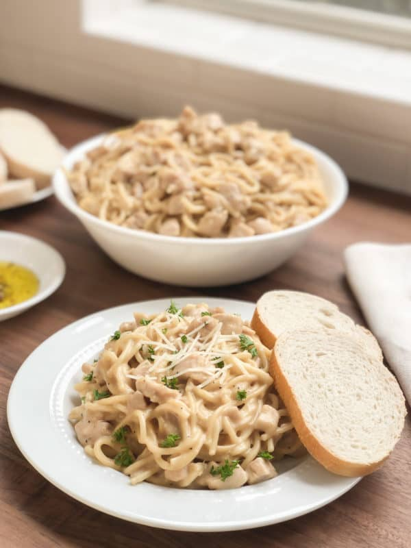 a serving of chicken tetrazzini on a plate