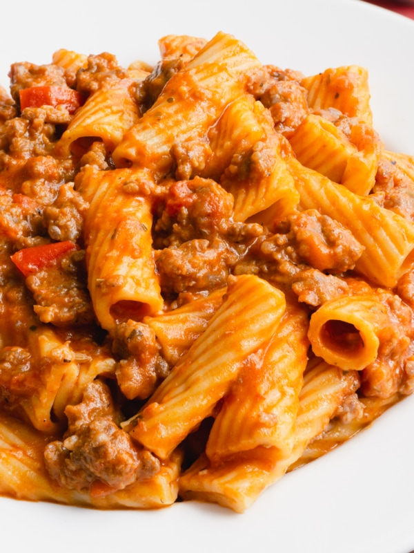 a large helping of pasta and Italian sausage in a creamy marinara sauce