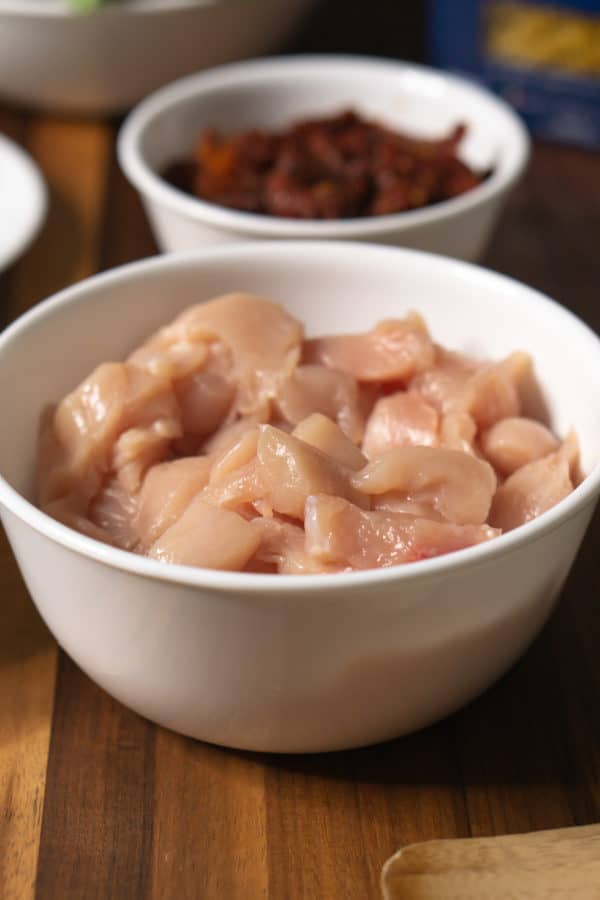 chicken breasts cut into bite-sized pieces
