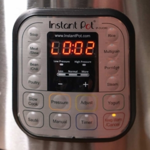 the instant pot display reads 2 minutes while performing a 2 minutes natural pressure release