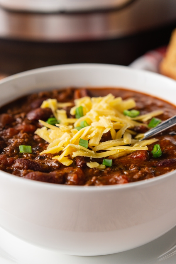 homemade chili served in a bowl
