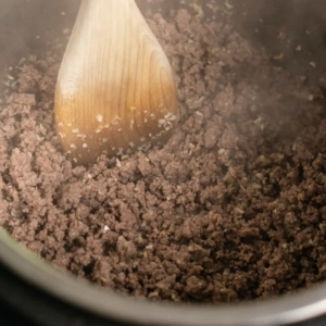 ground beef seasoned with dry minced onion in the instant pot