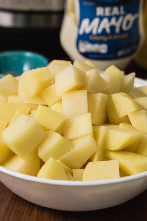 a bowl of chopped potatoes