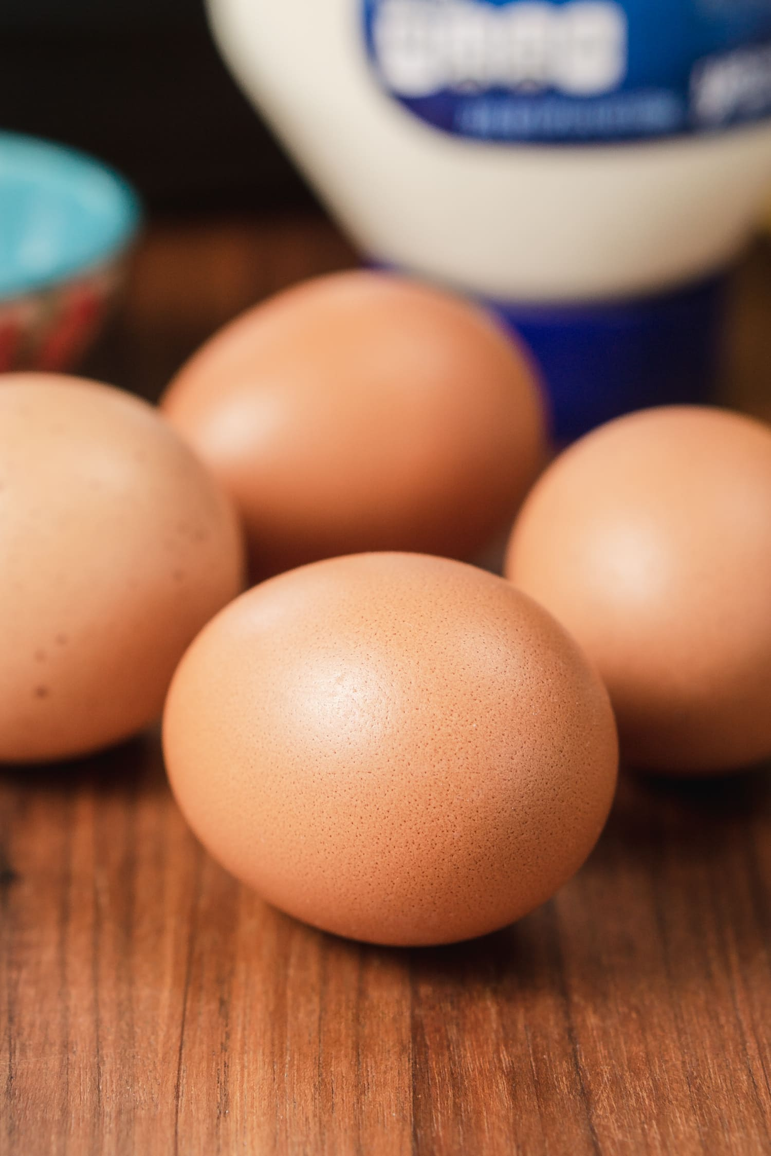 for brown eggs sitting on the counter