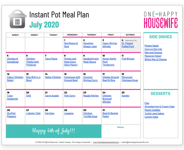 july instant pot meal plan calendar