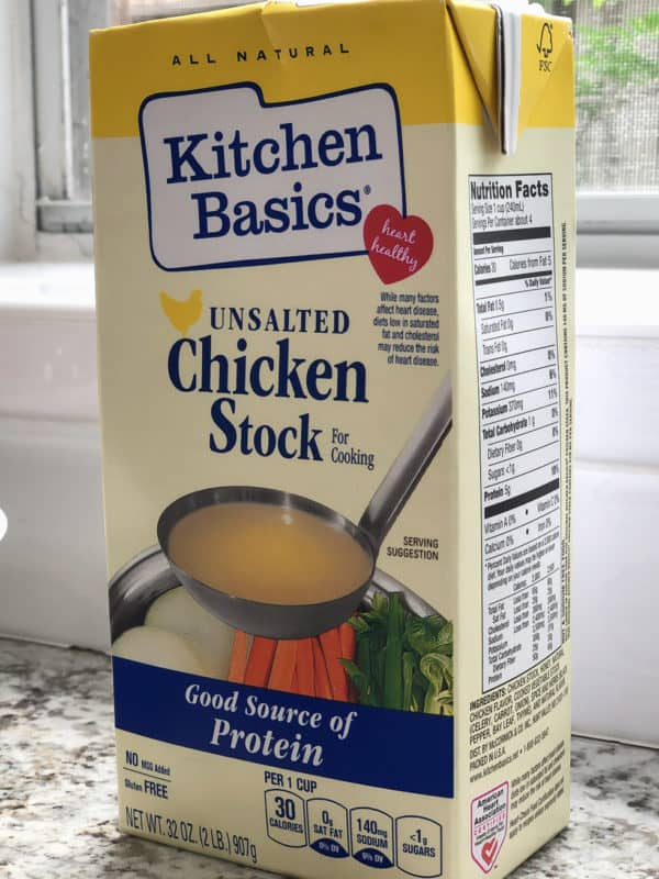 a box of chicken basics unsalted chicken stock for tuscan chicken pasta