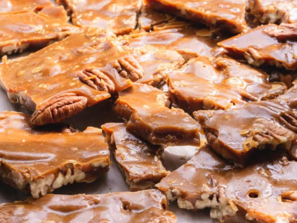 close up of southern pecan toffee
